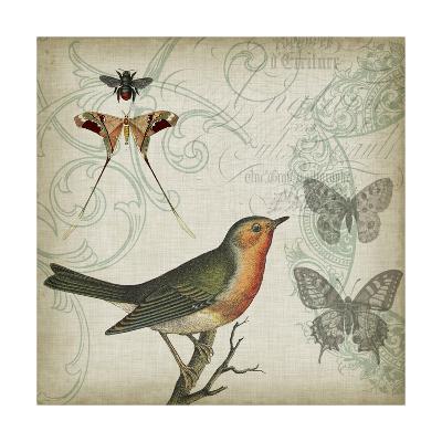 Cartouche & Wings I-Jennifer Goldberger-Art Print