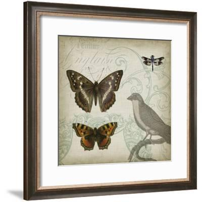Cartouche & Wings III-Jennifer Goldberger-Framed Art Print