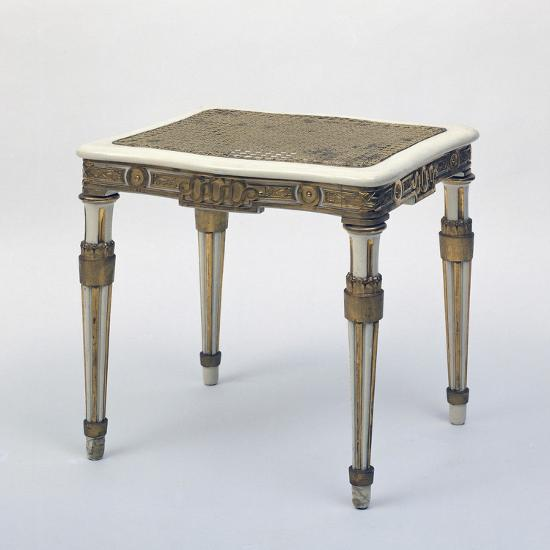 Carved and Gilded Stool, Wicker Seat, Austria--Giclee Print