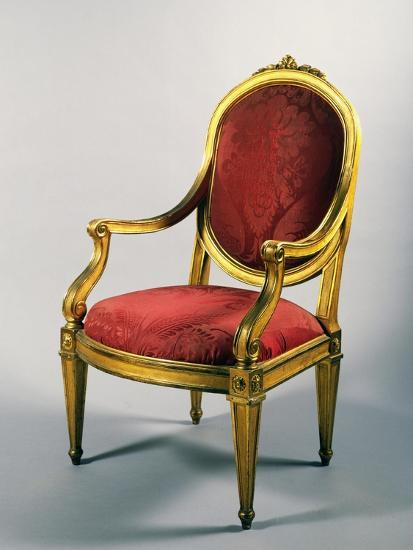 Carved and Gilt Genoese Armchair, 1780--Giclee Print