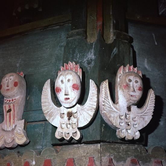 Carved and painted wooden angels from a church in Finland, 18th century. Artist: Unknown-Unknown-Giclee Print
