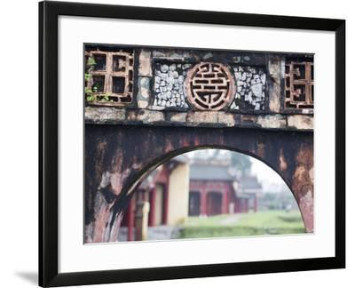Carved Arch Inside the Imperial Palace, in Hue, Vietnam-David H^ Wells-Framed Photographic Print
