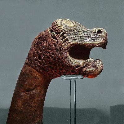 Carved Dragon-Head Post from the Ship Burial at Oseberg--Giclee Print