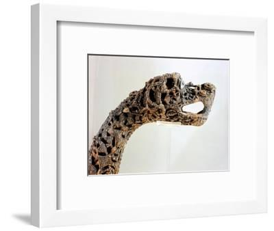 Carved dragon-head post from the ship burial at Oseberg-Werner Forman-Framed Giclee Print