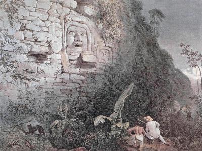 Carved Head of Itzamna in Izamal-Frederick Catherwood-Giclee Print