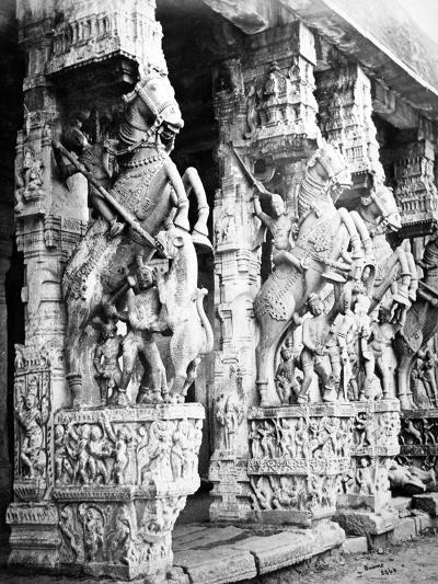 Carved Horse Pillars in Ranganatha Temple, Srirangam, 1869-Samuel Bourne-Photographic Print