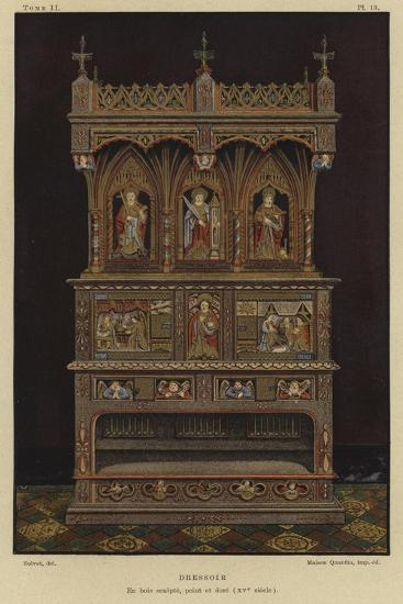 Carved, Painted and Gilded Wooden Dresser, 15th Century--Giclee Print