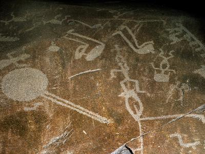 Carved Petroglyph' (People, Deers, Elks, Birds, Boots and Circle), 4th-3rd Millenium BC--Photographic Print