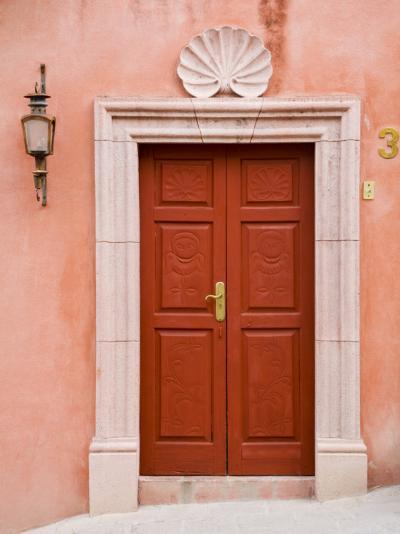 Carved Red Door, San Miguel, Guanajuato State, Mexico-Julie Eggers-Photographic Print