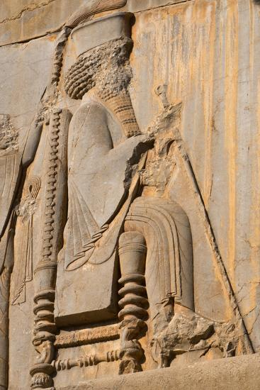 Carved relief of Darius the Great, builder of Persepolis, UNESCO World Heritage Site, Iran, Middle -James Strachan-Photographic Print