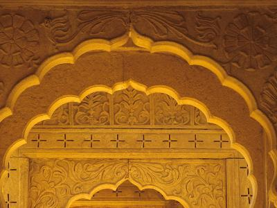 Carved Sandstone Arches Within Cenotaphs at Bada Bagh (1585), Jaisalmer, Rajasthan, India-John & Lisa Merrill-Photographic Print
