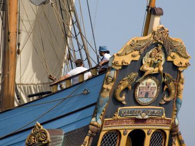 Carved Stern of Tall Ship the Kalmar Nyckel, Chesapeake Bay, Maryland, USA-Scott T^ Smith-Photographic Print