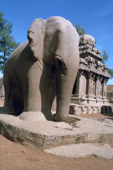 Carved Stone Elephant, Five Rathas, Mahabalipuram, Tamil Nadu, India-Vivienne Sharp-Photographic Print