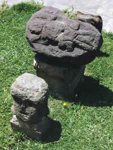 Carved Stones Showing Figures of Iguanas, in Tiahuanacu or Tiwanaku