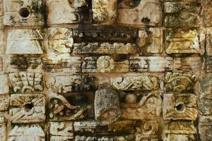 Carved stonework on the Temple of the Warriors at the ancient Mayan city of Chichen Itza, in Yuc...