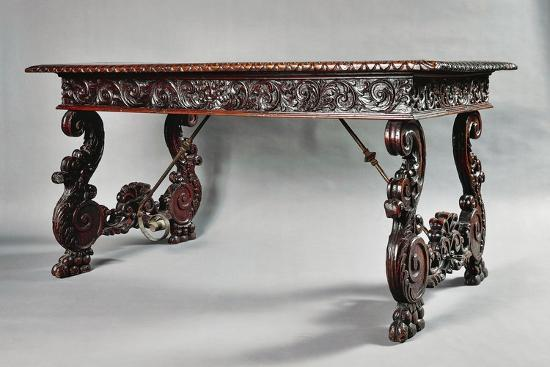 Carved Walnut Genoese Table with Lyre-Shaped Legs, Italy--Giclee Print