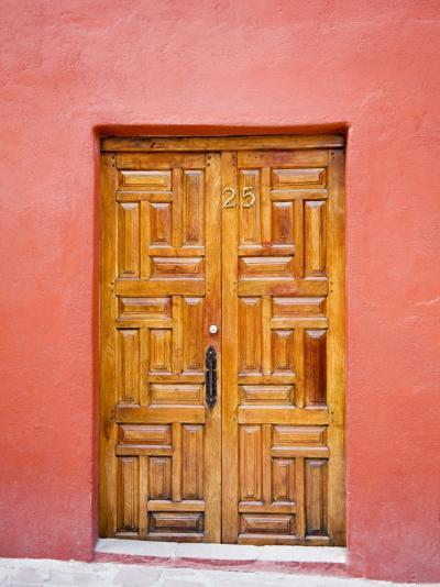 Carved Wooden Door, San Miguel, Guanajuato State, Mexico-Julie Eggers-Photographic Print