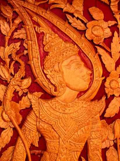 Carved Wooden Temple Doors at Pha That Luang, Vientiane, Vientiane Prefecture, Laos-John Banagan-Photographic Print