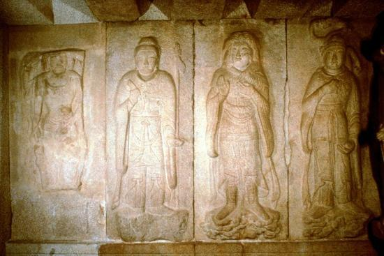 Carving in a cave shrine, Sokkuram, near Kyongju, South Korea. Artist: Unknown-Unknown-Giclee Print