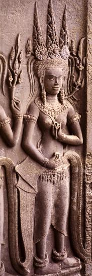 Carving of a Deity Wearing Elaborate Headdresses at Angkor Wat Temple, Angkor, Cambodia--Photographic Print