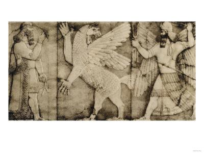 Carving of a Winged Lion in Battle at the Entrance to an Assyrian Temple--Giclee Print