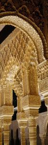 Carving on Arches and Columns of a Palace, Court of Lions, Alhambra, Granada, Andalusia, Spain