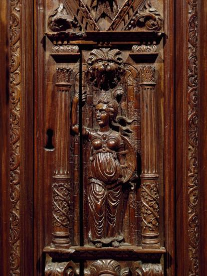 Carvings of Figures on Renaissance Style Walnut Cabinet, France, First Half 16th Century, Detail--Giclee Print