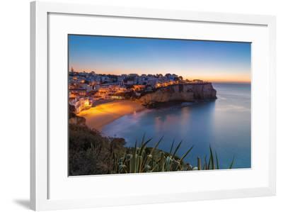 Carvoeiro Village While Climbing of the Sun, Sunrise. Portugal.-sergoua-Framed Photographic Print