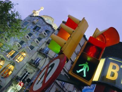 Casa Balli, Gaudi Architecture, and Street Signs, Barcelona, Spain-Gavin Hellier-Photographic Print