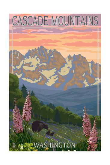 Cascade Mountains, Washington - Bears and Spring Flowers-Lantern Press-Art Print