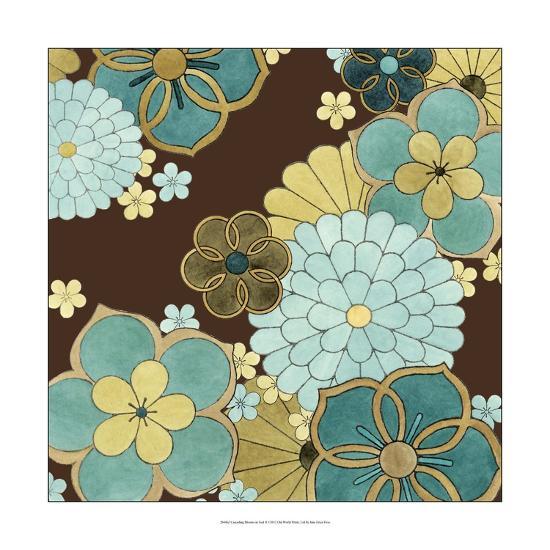 Cascading Blooms in Teal II-Erica J^ Vess-Art Print