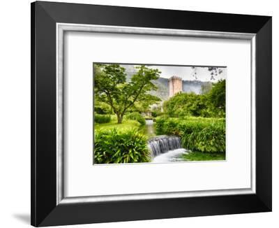 Cascading Creek in a Garden with a Medieval Tower-George Oze-Framed Photographic Print