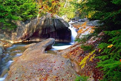 Cascading Creek of the Basin, Franconia Notch, NH-George Oze-Photographic Print