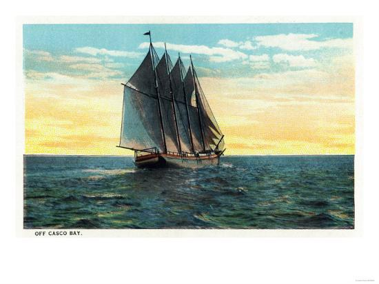 Casco Bay, Maine - View of a Sailboat off the Bay-Lantern Press-Art Print