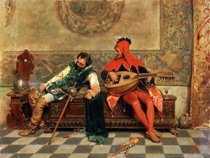 Drunk Warrior and Court Jester, Italian Painting of 19th Century by Casimiro Tomba