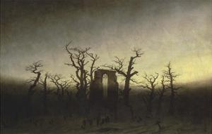 Abbey in the Oak Forest by Caspar David Friedrich