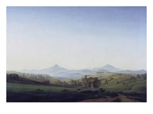 Boehmische Landschaft Mit Dem Milleschauer by Caspar David Friedrich