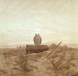 Landscape with Grave, Coffin and Owl by Caspar David Friedrich