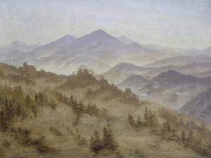 Mountains in Mists Ascending, Ca, 1835 by Caspar David Friedrich