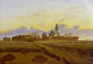 Neubrandenburg Burning, 1835 by Caspar David Friedrich
