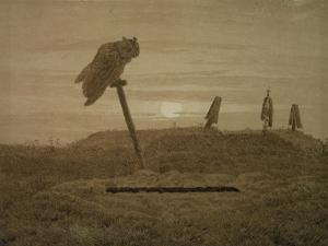 Offenes Grab, Griseille by Caspar David Friedrich