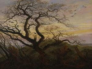 Ravens in a Tree (Bare Tree at the Coast of Ruegen, Or: Rookery on the Island Ruegen), about 1822 by Caspar David Friedrich