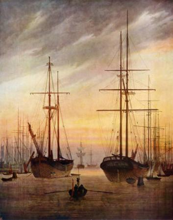 The Harbour of Greifswald by Caspar David Friedrich