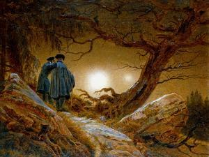 Two Men Contemplating the Moon, C1825-1830 by Caspar David Friedrich
