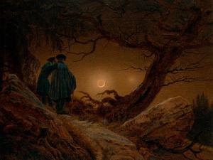 Two Men Contemplating the Moon, Ca 1820 by Caspar David Friedrich