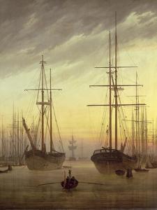 View of a Harbour, 1815-16 by Caspar David Friedrich