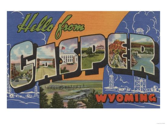 Casper, Wyoming - Large Letter Scenes-Lantern Press-Art Print
