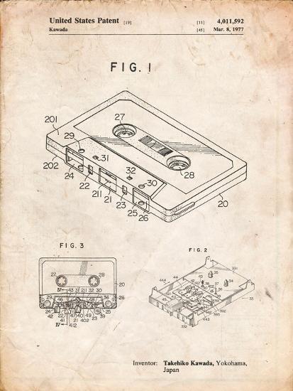 Cassette Tape Patent-Cole Borders-Art Print
