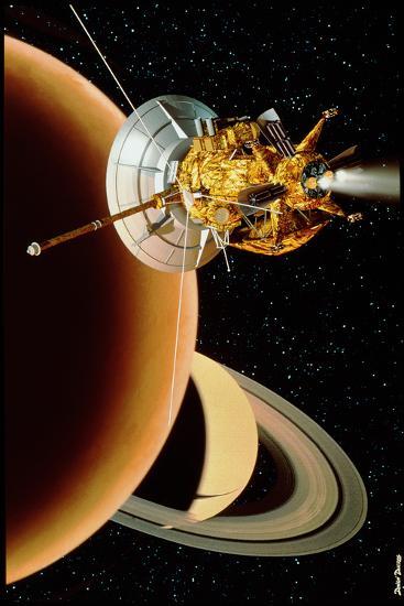 Cassini Spacecraft Near Titan-David Ducros-Photographic Print