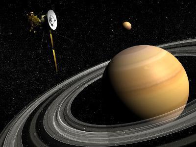 Cassini Spacecraft Orbiting Saturn and And its Moon Titan--Art Print